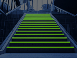 Glow in the dark stair markers for buildings