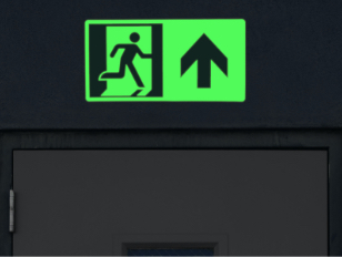 Photo luminescent exit sign for buildings